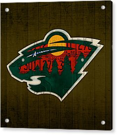 Minnesota Wild Retro Hockey Team Logo Recycled Land Of 10000 Lakes License Plate Art Acrylic Print