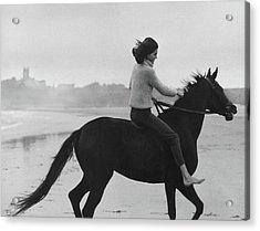 Minnie Cushing Riding A Horse Acrylic Print by Toni Frissell