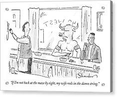 Minotaur At Bar Talking To Bartender Reaching Acrylic Print by Danny Shanahan