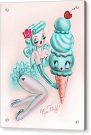 Mint Sherbert Ice Cream Pin Up Acrylic Print