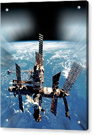 Mir Space Station In Orbit Acrylic Print by Detlev Van Ravenswaay