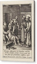 Miraculous Healing By Ignatius Loyola Of A Man Who Hanged Acrylic Print by Hieronymus Wierix
