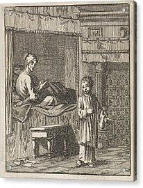 Miraculous Healing Of Jeske Klaes, Jan Luyken Acrylic Print by Jan Luyken And Wed. Pieter Arentsz (ii) And Cornelis Van Der Sys