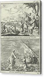 Miraculous Multiplication Of Loaves And Fishes By Christ Acrylic Print by Jan Luyken And Jan Claesz Ten Hoorn