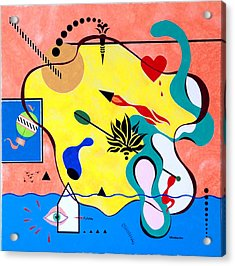 Acrylic Print featuring the painting Miro Miro On The Wall by Thomas Gronowski