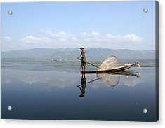 Mirror Inle Lake Acrylic Print by Jessica Rose