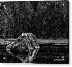 Mirror Lake Boulder Acrylic Print by Terry Garvin