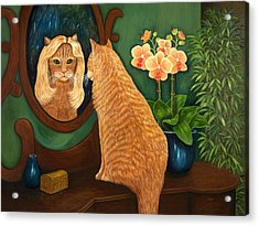 Acrylic Print featuring the painting Mirror Mirror On The Wall by Karen Zuk Rosenblatt