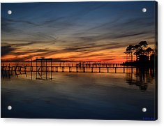 Mirrored Sunset Colors On Santa Rosa Sound Acrylic Print by Jeff at JSJ Photography