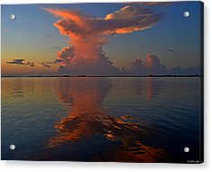 Mirrored Thunderstorm Over Navarre Beach At Sunrise On Sound Acrylic Print by Jeff at JSJ Photography