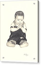 Acrylic Print featuring the drawing Mischievous by Patricia Hiltz