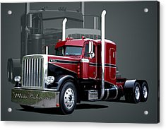 Miss Behavin 1990 Peterbilt Semi Truck Acrylic Print by Tim McCullough