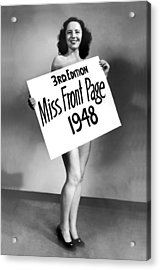 Miss Front Page Of 1948. Acrylic Print by Underwood Archives