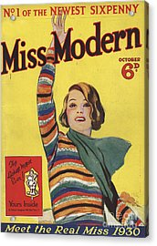 Miss Modern 1930 1930s Uk First Issue Acrylic Print by The Advertising Archives