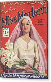 Miss Modern 1931 1930s Uk   Brides Acrylic Print by The Advertising Archives