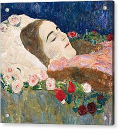 Miss Ria Munk On Her Deathbed Acrylic Print by Gustav Klimt