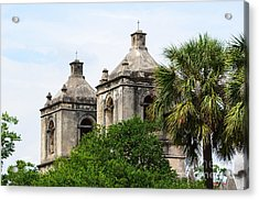 Mission Concepcion Steeples In San Antonio Missions National Historical Park Acrylic Print