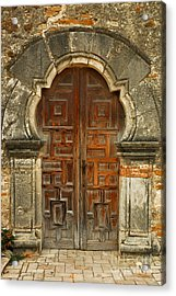 Acrylic Print featuring the photograph Mission Espada Door  by Olivia Hardwicke