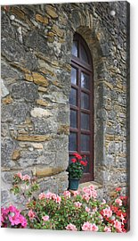 Mission Espada Window Acrylic Print by Kathleen Scanlan