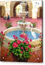 Mission Inn Fountain Acrylic Print by Janet McGrath