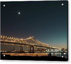 Acrylic Print featuring the photograph Mississippi Bridge Moonlight by Ray Devlin