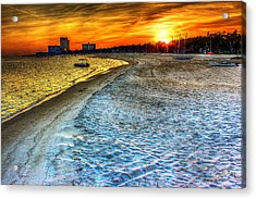 Beach - Coastal - Sunset - Mississippi Gold Acrylic Print by Barry Jones