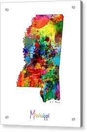 Mississippi Map Acrylic Print by Michael Tompsett