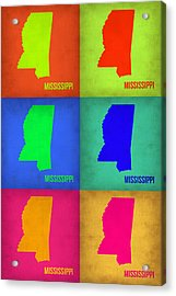 Mississippi Pop Art Map 1 Acrylic Print by Naxart Studio
