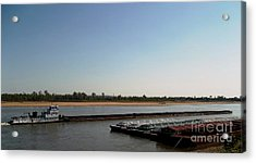 Acrylic Print featuring the photograph Mississippi River Barge by Kelly Awad