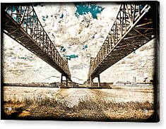 Acrylic Print featuring the photograph Mississippi River Bridge Twin Spans by Ray Devlin