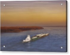 Mississippi Sunset Acrylic Print by Ellen Heaverlo