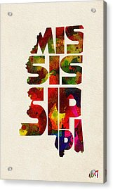 Mississippi Typographic Watercolor Map Acrylic Print by Ayse Deniz