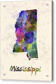 Mississippi Us State In Watercolor Acrylic Print by Pablo Romero
