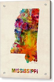 Mississippi Watercolor Map Acrylic Print by Michael Tompsett