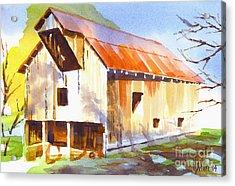 Missouri Barn In Watercolor Acrylic Print by Kip DeVore