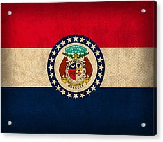 Missouri State Flag Art On Worn Canvas Acrylic Print