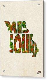 Missouri Typographic Watercolor Map Acrylic Print by Ayse Deniz