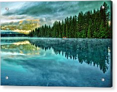 Mist And Moods Of Lake Beauvert  Acrylic Print