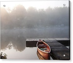 Mist Floating Over The Lake Acrylic Print by Catherine Gagne