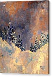 Mist On The Snow Peak Acrylic Print by Patricia Brintle