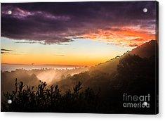 Mist Rising At Dusk Acrylic Print by Peta Thames