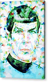 Mister Spock  Watercolor Portrait Acrylic Print