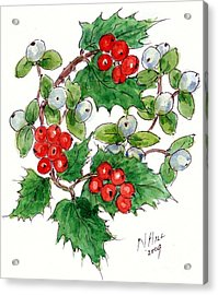 Mistletoe And Holly Wreath Acrylic Print by Nell Hill