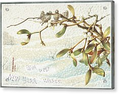 Mistletoe In The Snow Acrylic Print by English School