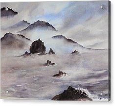 Mists Of Haystack Rock Acrylic Print