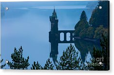 Misty Dawn And The Filter Tower Acrylic Print by Pete Reynolds
