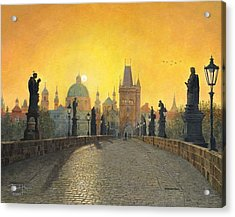 Misty Dawn Charles Bridge Prague Acrylic Print