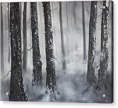 Acrylic Print featuring the painting Misty Forest by Jean Walker