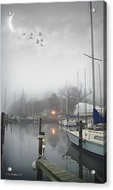 Misty Harbor Lights Acrylic Print by Brian Wallace