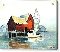 Misty Harbor Acrylic Print by Zelma Hensel